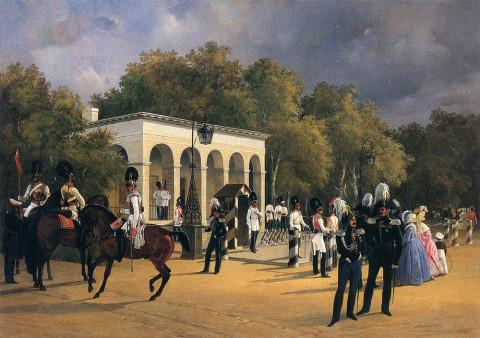 Ладюрнер А. И., Елагиноостровская гауптвахта с караулом Кавалергардского полка. 1840 год.