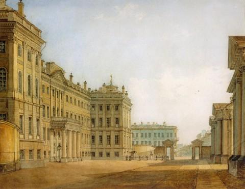 Садовников В. С., Вид Аничкова дворца с парадного двора. 1830-е годы.