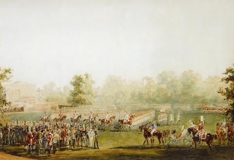 Садовников В. С., Парад на Масляном лугу перед Елагиным дворцом. 1851 год.