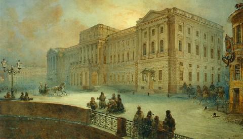 Садовников В. С., Вид Мариинского дворца зимой 1863 года. 1863 год.