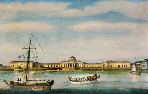Неизвестный художник, Вид на Таврический дворец со стороны Невы. 1825 год.