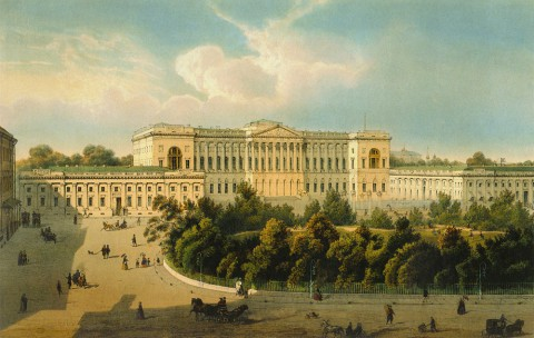 Шарлемань И. И., Вид на Михайловский дворец со стороны сквера и площади. 1850-е годы.