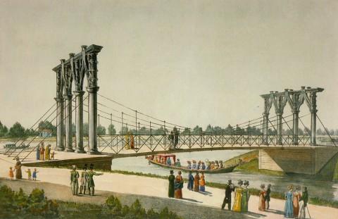 Неизвестный художник, Вид Екатерингофского моста через реку Екатерингофку. 1824 год.
