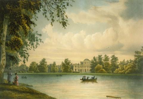 Перро Ф. В., Вид с Каменного острова на Елагин дворец. 1840-е годы.