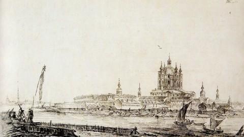 Де ла Траверс Ж. Б., Вид на Смольный монастырь с Большой Охты. 1792 год.
