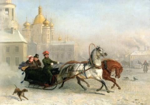 Верне П. М. Ж., Извозчик на Владимирской площади зимой. 1830-е годы.