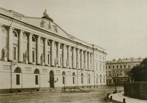 Бианки И. К., Новый корпус Публичной библиотеки и вид на фотомастерскую И. Бианки на Невском проспекте. До 1872 года.