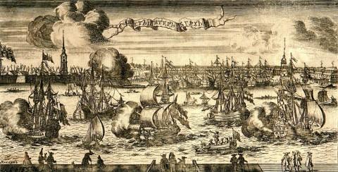 Пикарт П., Петропавловская крепость и Троицкая площадь. 1714 год.