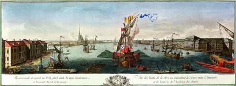 Виноградов Е., Вид от Адмиралтейства и Академии Наук вверх по Неве. 1753 год.