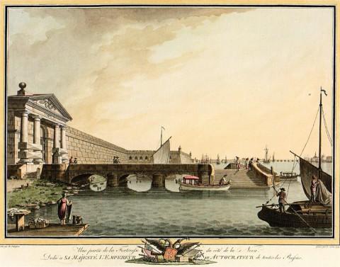 Патерсен Б., Невские ворота и Комендантская пристань Петропавловской крепости. 1799 год.