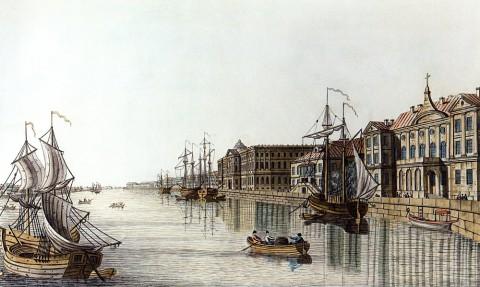 Сабат К. Ф., Нева у Меншиковского дворца. Начало 1820-х годов.