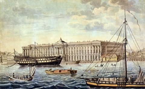 Сабат К. Ф., Нева у Академии художеств. Начало 1820-х годов.