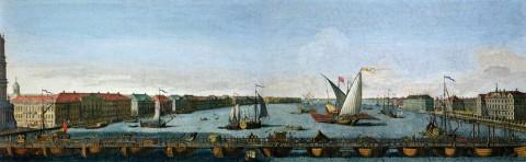 Васильев Я., Вид вниз по Неве от Понтонного моста, построенного между Исаакиевской церковью и Кадетским корпусом. 1753 год.