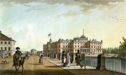 Патерсен Б., Вид Михайловского замка с набережной Фонтанки. 1801 год.