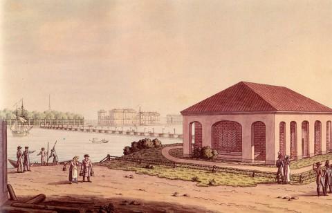 Неизвестный художник, Вид от домика Петра I на Летний сад и Дворцовую набережную. 1820-е годы.