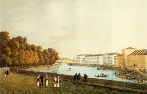 Мартынов А. Е., Летний сад и набережная Фонтанки. Около 1820 года.
