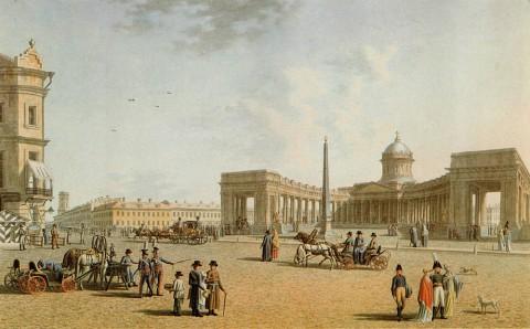 Патерсен Б., Казанский собор со стороны Невского проспекта. 1810-е годы.