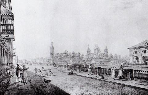 Беггров К. П., Вид Никольского собора со стороны Крюкова канала. 1823 год.