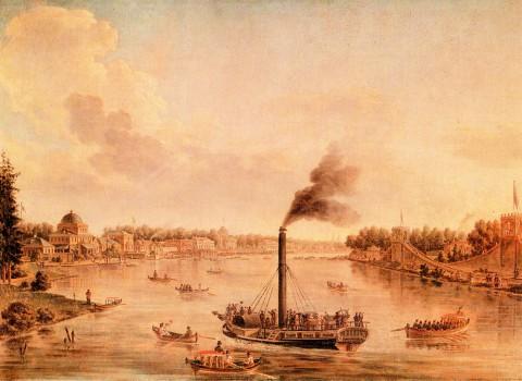 Васильев Т. А., Вид петербургских островов и Невы с одним из первых русских пароходов. 1820 год.