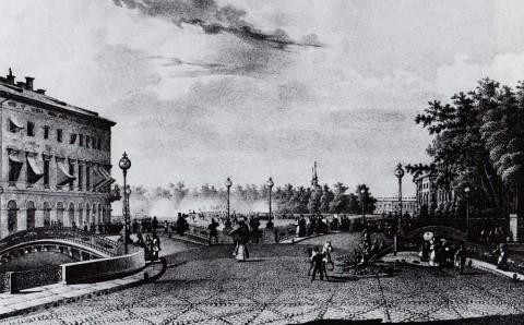 Иванов П. С., Трёхаркный мост через Мойку и Екатерининский канал у Царицына луга. 1830-е годы.