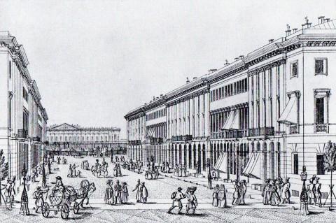 Тюмлинг Л., Михайловская улица. 1830-е годы.