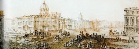 Ламони Д. Ф., Невский проспект у Екатерининского канала. 1780-е годы.