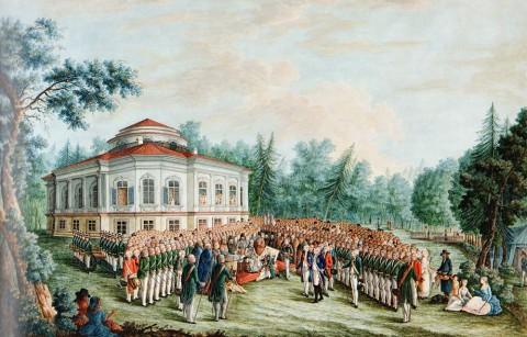 Молодецкий В. И., Церемония вручения воинского знамени Корпусу чужестранных единоверцев. 1793 год.
