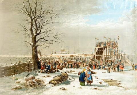 Енслен К., Ледяные горы и балаганы на Неве у Смольного монастыря. 1816 год.