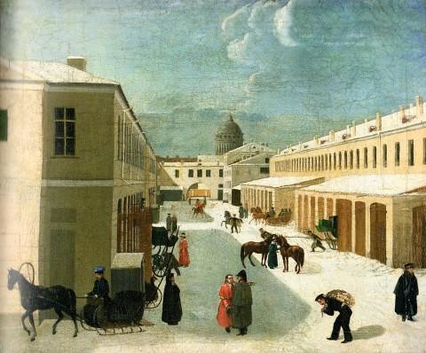 Неизвестный художник, Каретные сараи придворного конюшенного ведомства на Екатерининском канале. 1820-1830-е годы.