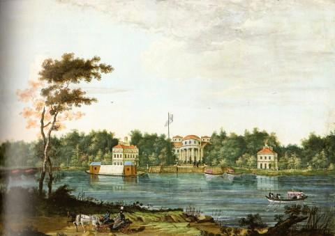 Неизвестный художник, Вид на Елагин дворец с Каменного острова. Не позднее 1817 года.