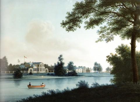 Барт И. В., Вид с Крестовского острова на Каменный. 1810-е годы.
