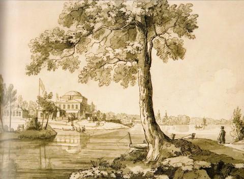 Чернецов Н. Г., Дача Д. Л. Нарышкина на берегу Малой Невки на Петербургском острове. 1825 год.