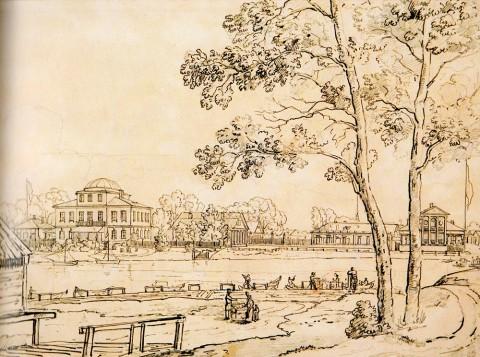 Чернецов Н. Г., Вид дачи Д. Л. Нарышкина с Крестовского острова. 1825 год.