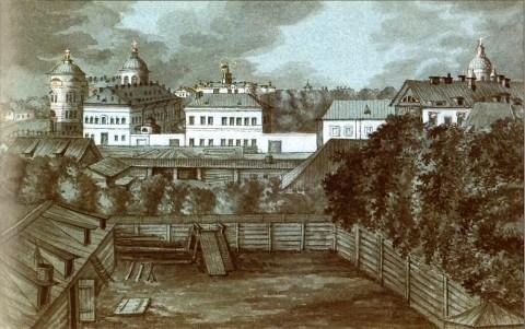Фосс А., Вид на госпиталь Семёновского полка и Обуховскую больницу. 1842-1844 годы.