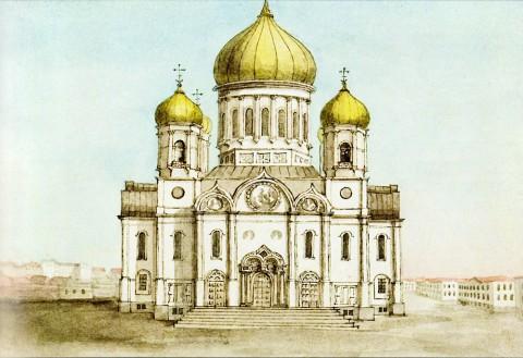Фосс А., Введенская церковь лейб-гвардии Семёновского полка. 1847 год.