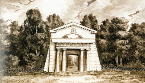 Вид Египетских ворот усадьбы графини С. В. Строгановой на Чёрной речке. 1840 год.