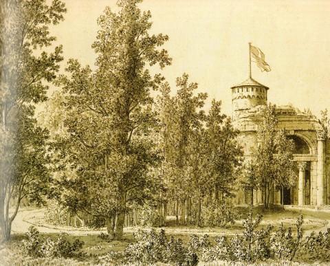 Неизвестный художник, Руина в парке дачи Кушелева-Безбородко. Середина XIX века.