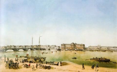Шарлемань А. И., Вид Невы у Благовещенского моста. 1854 год.