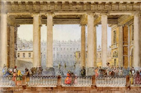 Садовников В. С., Вид на Аничков дворец со стороны Фонтанки через колоннаду Кабинета. 1842 год.