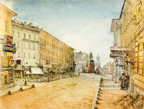 Садовников В. С., Вид Вознесенского проспекта  в сторону Мариинской площади. 1859 год.