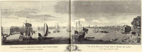 Махаев М. И., Проспект в верх по Неве реке к Востоку между Галерною верфью и 13 линией Васильевскаго острова. 1749-1750 годы.
