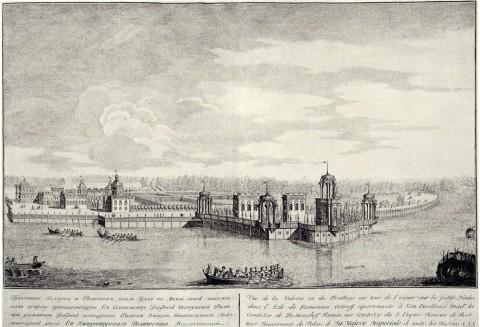 Махаев М. И., Проспект галереи и решеток около пруда. Каменный остров.. 1757 год.