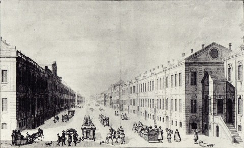 Махаев М. И., Проспект Миллионной улицы от Главной аптеки. 1751 год.
