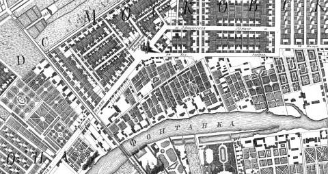 Начало Большой Загородной улицы, 1753 год.