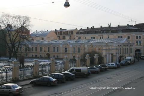 Боковой корпус и ограда Воронцовского дворца. 2009.02.10.