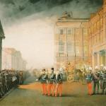 Парад 12-го гренадерского Астраханского Е.И.В. наследника полка перед Аничковым дворцом 26 февраля 1870
