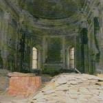 Интерьер храма. Алтарная часть до реставрации