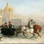 Извозчик на Владимирской площади зимой