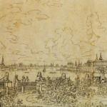 Вид на Неву и Смольный монастырь от ограды дачи Кушелевых-Безбородко