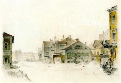 Баганц Ф. Ф., Деревянный дом на углу Надеждинской и Итальянской улиц. 1862 год.